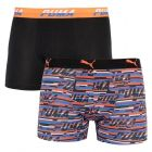 Трусы Puma Logo AOP Boxer 2-pack Black/Orange/Blue
